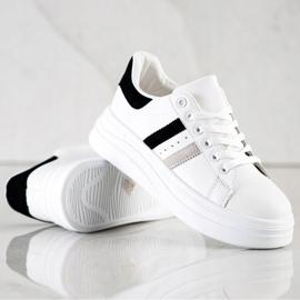 SHELOVET Sneakersy Z Zamszowymi Wstawkami białe 2