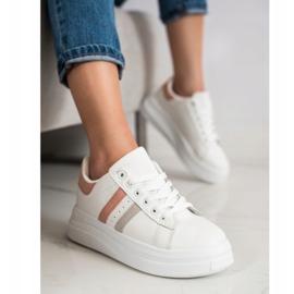 SHELOVET Sneakersy Z Zamszowymi Wstawkami białe 3