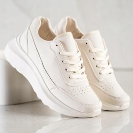 SHELOVET Klasyczne Sneakersy Z Eko Skóry beżowy 2