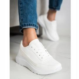 SHELOVET Klasyczne Sneakersy Z Eko Skóry białe 2