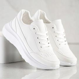 SHELOVET Klasyczne Sneakersy Z Eko Skóry białe 3
