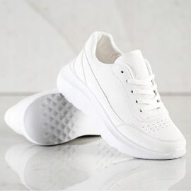 SHELOVET Klasyczne Sneakersy Z Eko Skóry białe 4