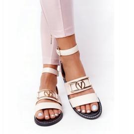 PS1 Płaskie Skórzane Sandały Beżowe On Time beżowy 4