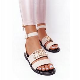 PS1 Płaskie Skórzane Sandały Beżowe On Time beżowy 1