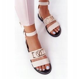 PS1 Płaskie Skórzane Sandały Beżowe On Time beżowy 2