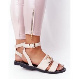 PS1 Płaskie Skórzane Sandały Beżowe On Time beżowy 3