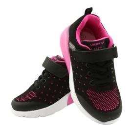 American Club Dziewczęce Buty Sportowe Na Rzep RL12/21 Czarne różowe 4