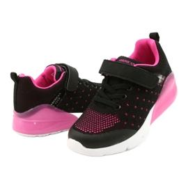 American Club Dziewczęce Buty Sportowe Na Rzep RL12/21 Czarne różowe 3