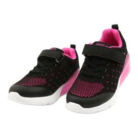 American Club Dziewczęce Buty Sportowe Na Rzep RL12/21 Czarne różowe 2