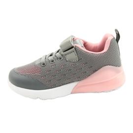 American Club Dziewczęce Buty Sportowe Na Rzep RL12/21 Szare różowe 1