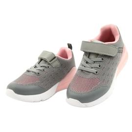 American Club Dziewczęce Buty Sportowe Na Rzep RL12/21 Szare różowe 2