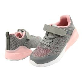 American Club Dziewczęce Buty Sportowe Na Rzep RL12/21 Szare różowe 3