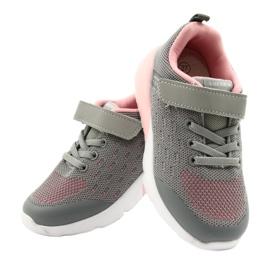 American Club Dziewczęce Buty Sportowe Na Rzep RL12/21 Szare różowe 4