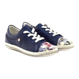 Granatowe buty dziecięce w kwiatki Bartek 85524 4