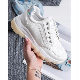 SHELOVET Sneakersy Z Eko Skóry białe 6