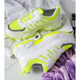 SHELOVET Wygodne Sneakersy Z Siateczką białe żółte 1
