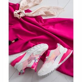 SHELOVET Modne Sneakersy białe różowe 1