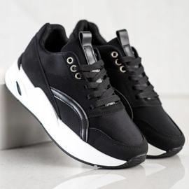 SHELOVET Klasyczne Sneakersy Na Platformie czarne 1