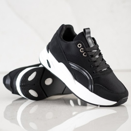 SHELOVET Klasyczne Sneakersy Na Platformie czarne 4
