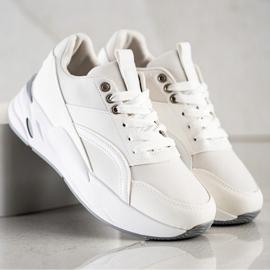 SHELOVET Klasyczne Sneakersy Na Platformie białe 1