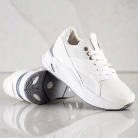 SHELOVET Klasyczne Sneakersy Na Platformie białe 4