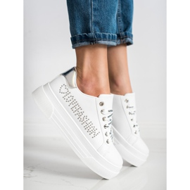 SHELOVET Białe Trampki Na Platformie Fashion 3