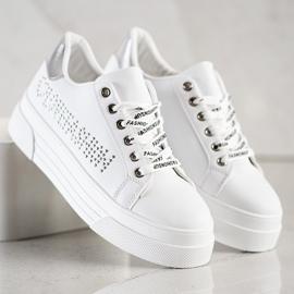 SHELOVET Białe Trampki Na Platformie Fashion 4