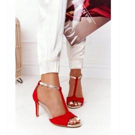 Sandały Na Szpilce S.Barski 280-58 Czerwono-Złote czerwone złoty 2