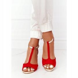 Sandały Na Szpilce S.Barski 280-58 Czerwono-Złote czerwone złoty 5
