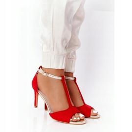 Sandały Na Szpilce S.Barski 280-58 Czerwono-Złote czerwone złoty 1