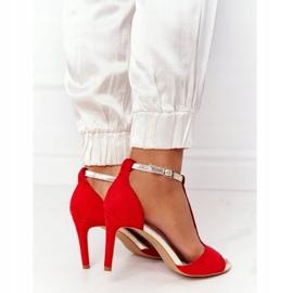 Sandały Na Szpilce S.Barski 280-58 Czerwono-Złote czerwone złoty 3