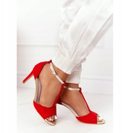 Sandały Na Szpilce S.Barski 280-58 Czerwono-Złote czerwone złoty 4