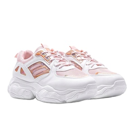 Biało różowe sneakersy na grubej podeszwie Annette białe wielokolorowe 1