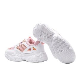 Biało różowe sneakersy na grubej podeszwie Annette białe wielokolorowe 2