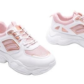 Biało różowe sneakersy na grubej podeszwie Annette białe wielokolorowe 3