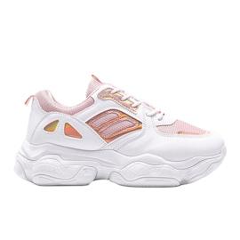 Biało różowe sneakersy na grubej podeszwie Annette białe wielokolorowe 4