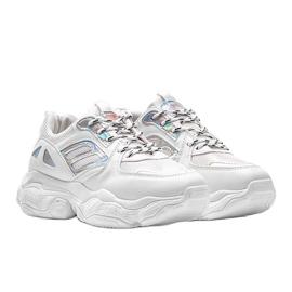 Biało srebrne sneakersy na grubej podeszwie Annette białe 1