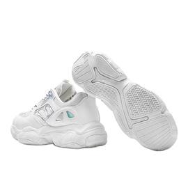Biało srebrne sneakersy na grubej podeszwie Annette białe 2
