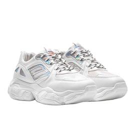 Biało srebrne sneakersy na grubej podeszwie Annette białe 4