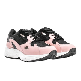 Czarno różowe sneakersy damskie Kendall czarne 1