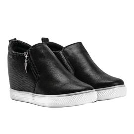 Czarne błyszczące sneakersy damskie Avery 1