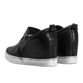 Czarne błyszczące sneakersy damskie Avery 2