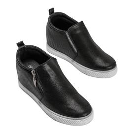 Czarne błyszczące sneakersy damskie Avery 3