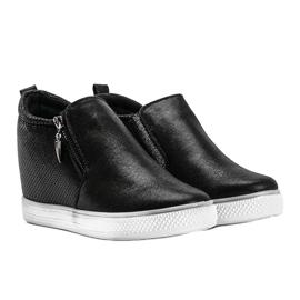 Czarne błyszczące sneakersy damskie Avery 4