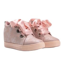 Różowe połyskujące sneakersy damskie Elle 1
