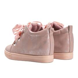 Różowe połyskujące sneakersy damskie Elle 2