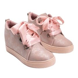 Różowe połyskujące sneakersy damskie Elle 3