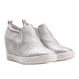 Białe połyskujące sneakersy damskie Jayla srebrny 1