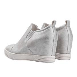 Białe połyskujące sneakersy damskie Jayla srebrny 2