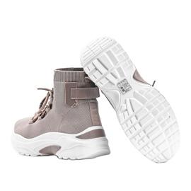 Sneakersy skarpetkowe beżowe Elisa beżowy 2